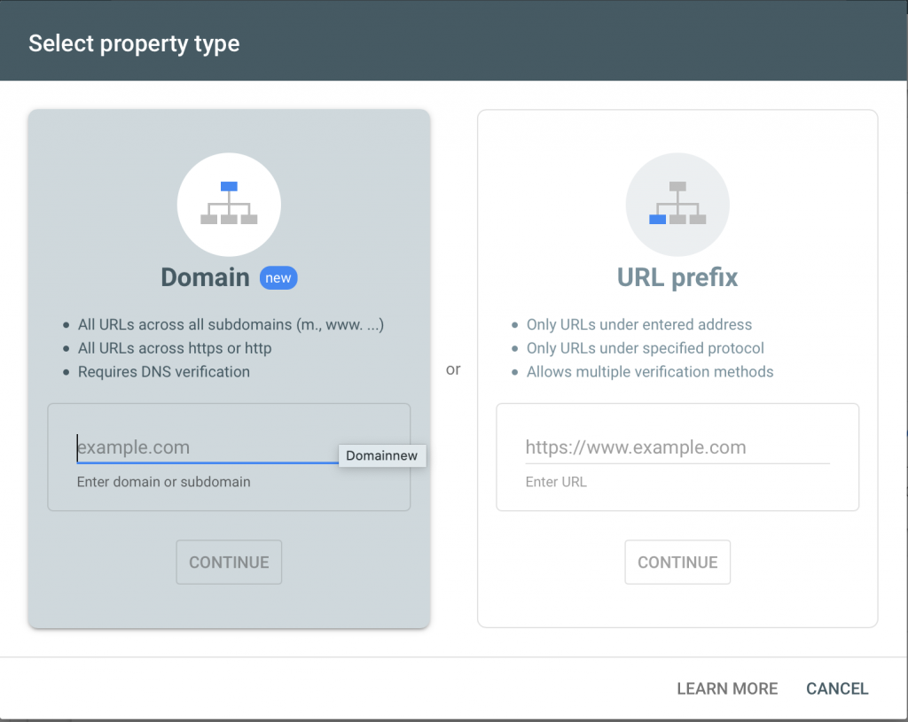add property in webmaster tools