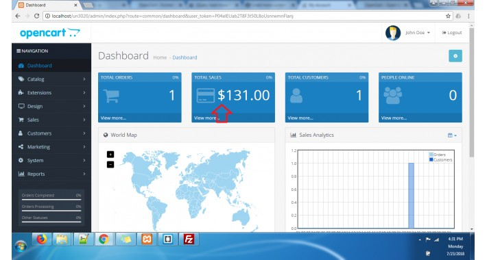 OpenCart - Show on admin dashboard currency