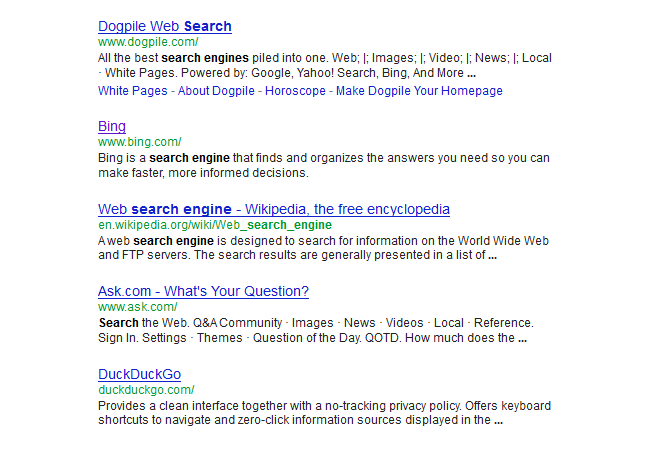 Search results (SERPS)